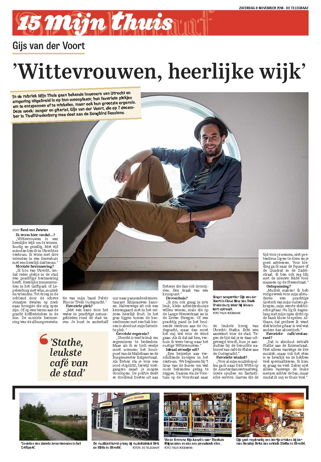 Gijs in de Telegraaf: 'Wittevrouwen, heerlijke wijk'